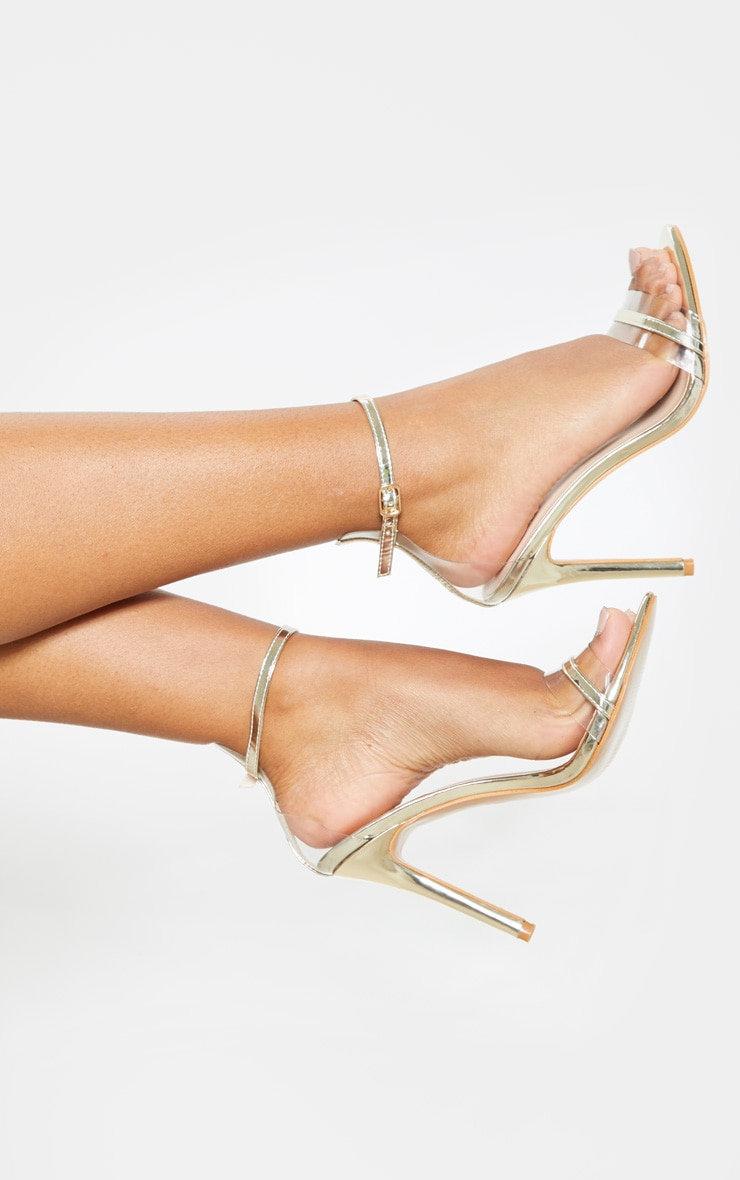 Gold Wide Fit Clear Strap Barely There Sandal 2