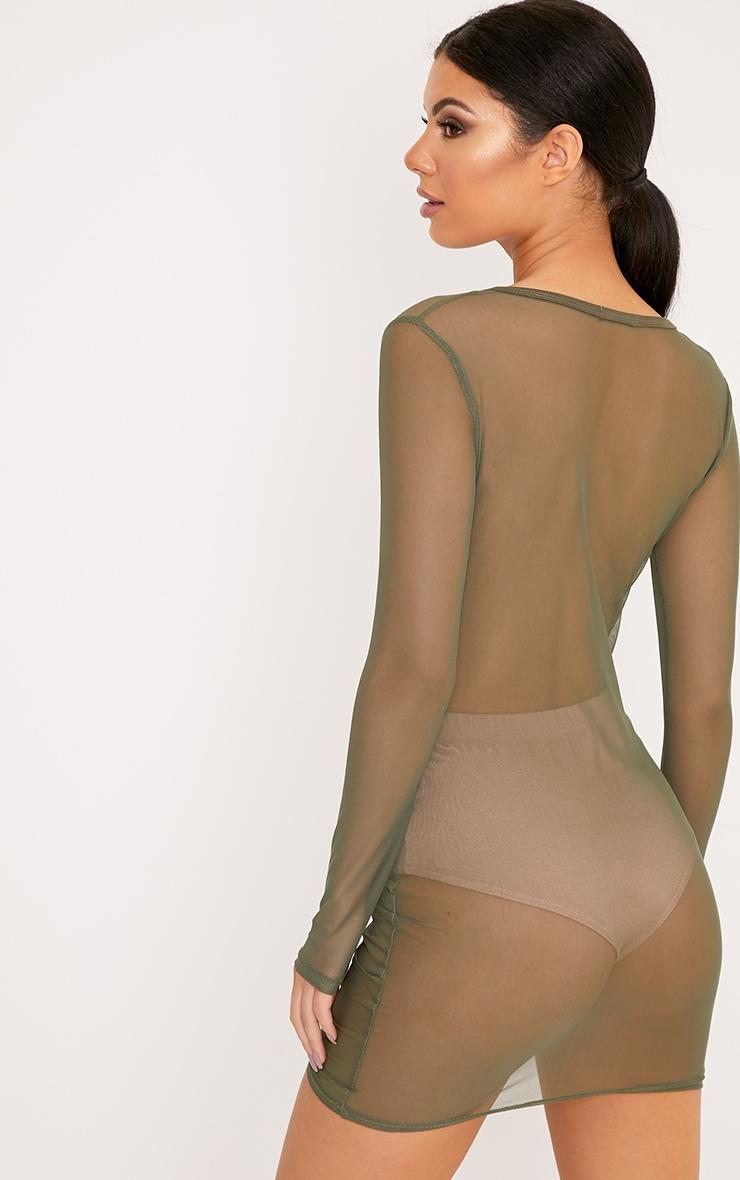 Lianna Khaki Mesh Ruched Bodycon Dress 2