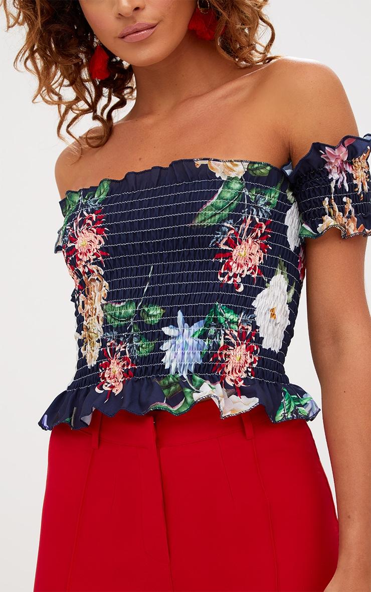 Navy Shirred Floral Print Bardot Crop Top 4