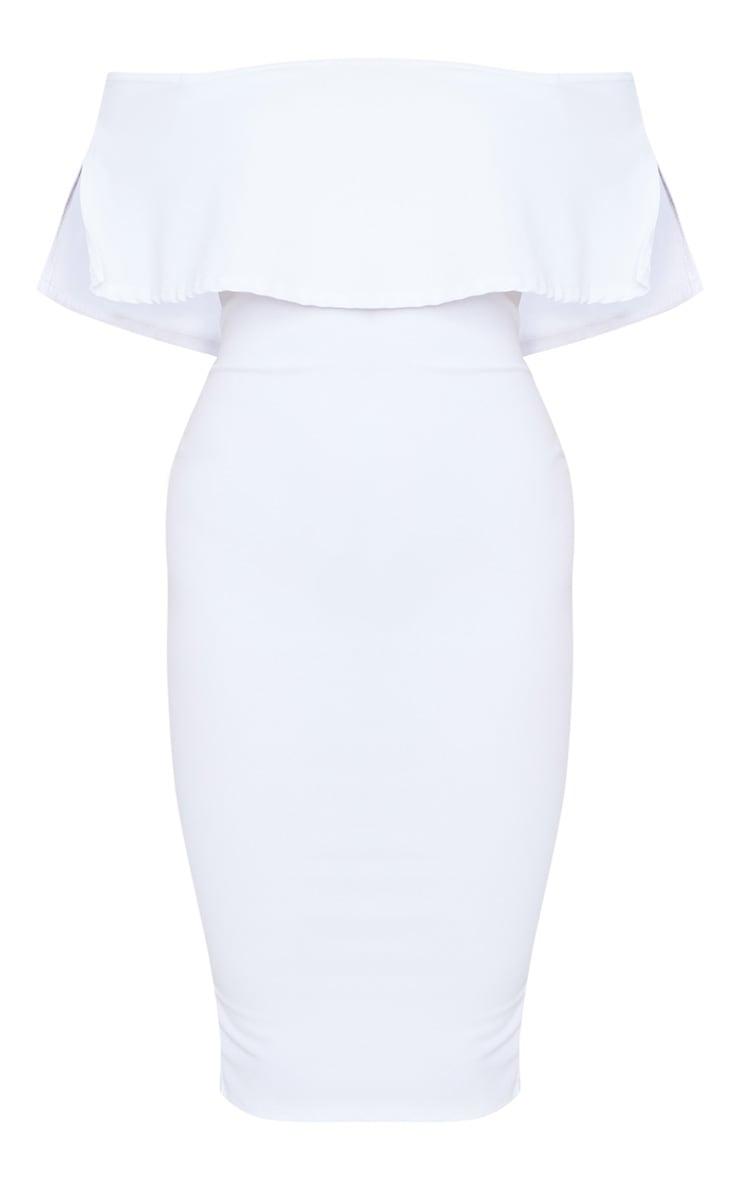 White Bardot Frill Midi Dress 5
