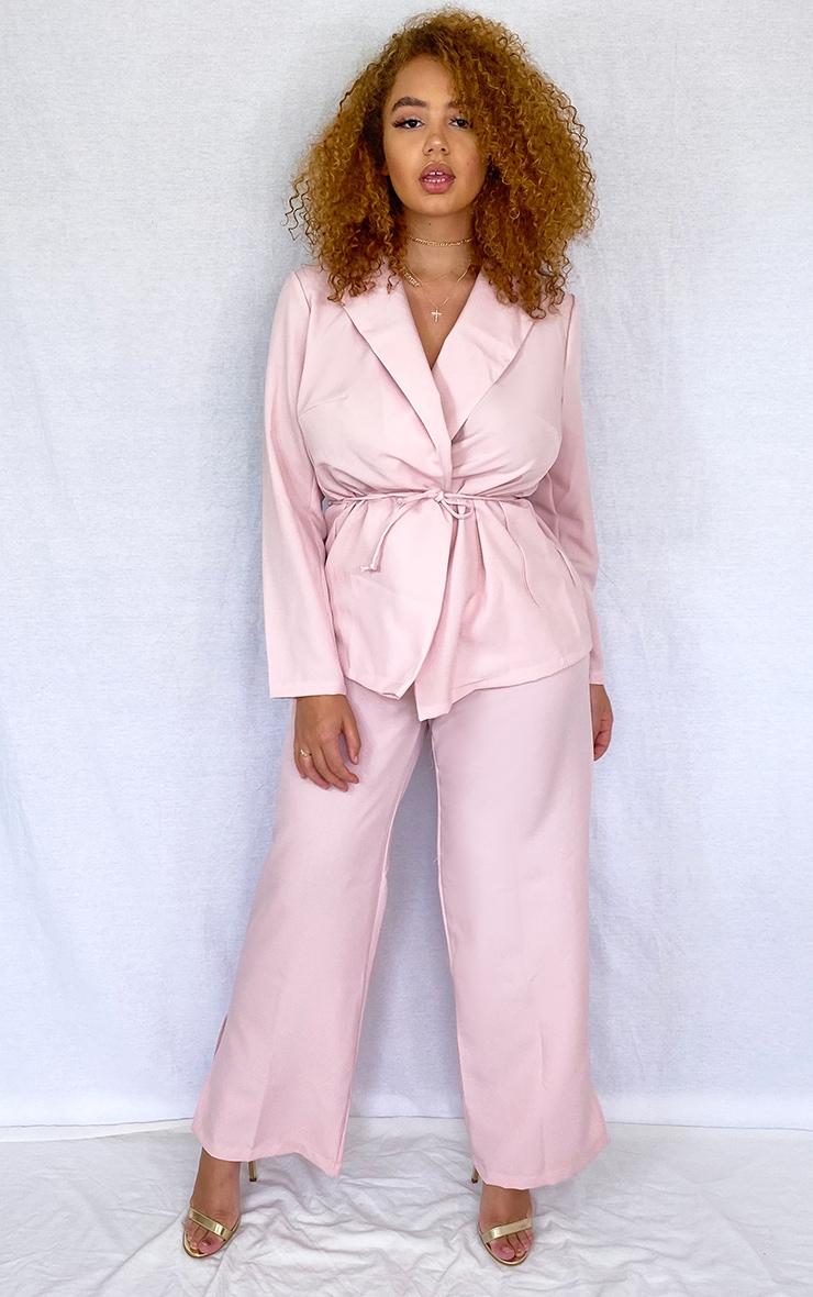 PLT Plus - Pantalon en maille rose cendré à jambes évasées et ourlets fendus 1