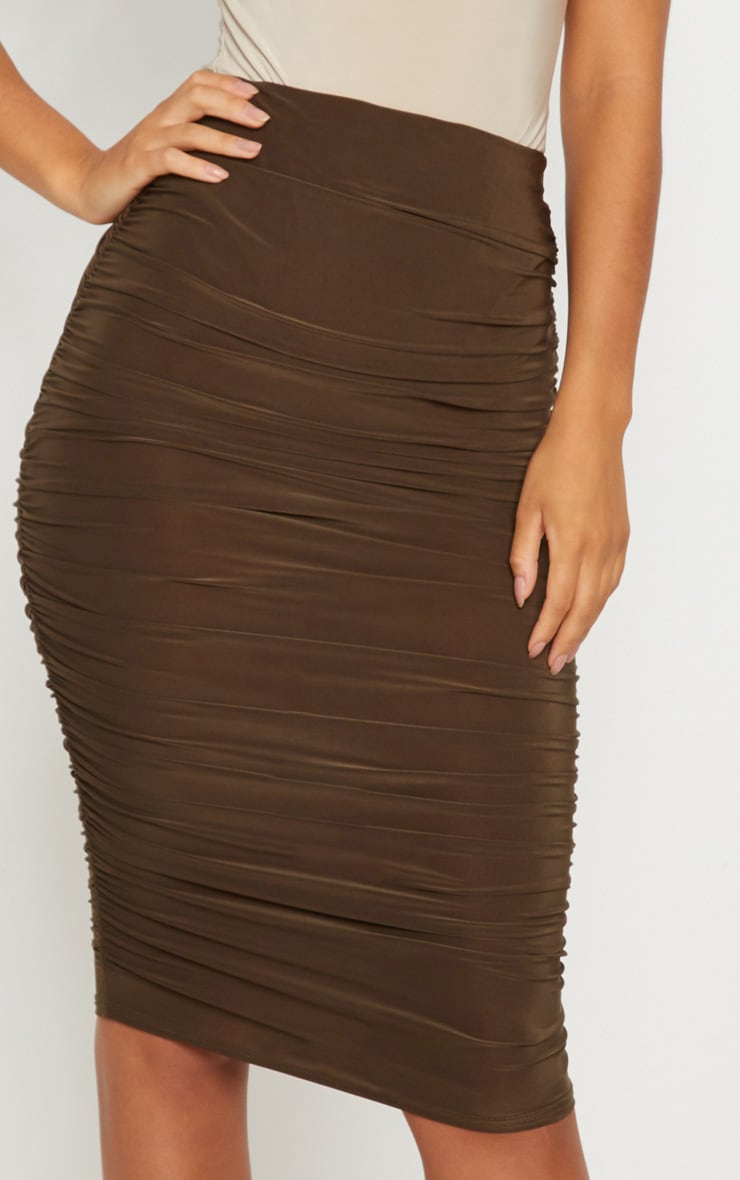 cdf7de9726 Khaki Second Skin Ruched Side Midi Skirt   PrettyLittleThing