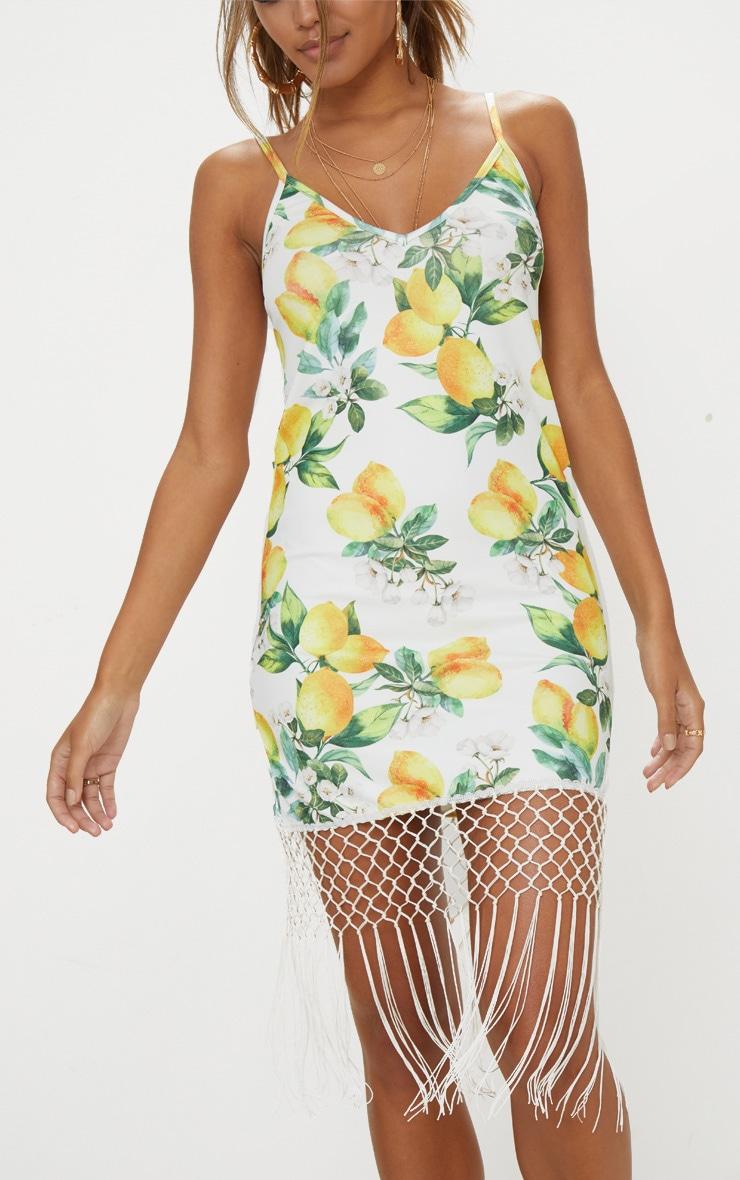 White Lemon Print Tassel Hem Shift Dress 5