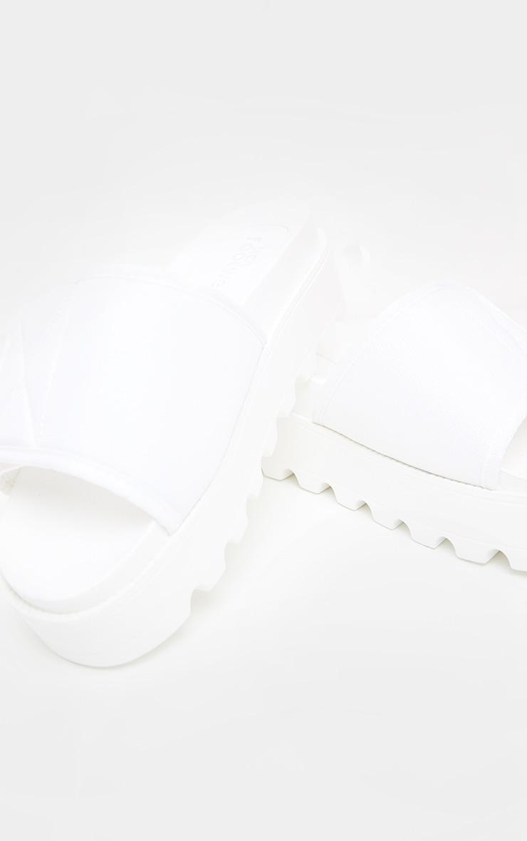 White Velcro Strap Flatform Slider 4