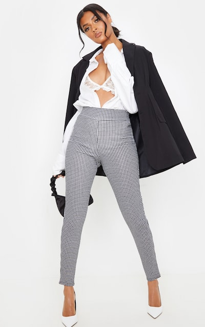 Black Dogtooth Check Skinny Trouser
