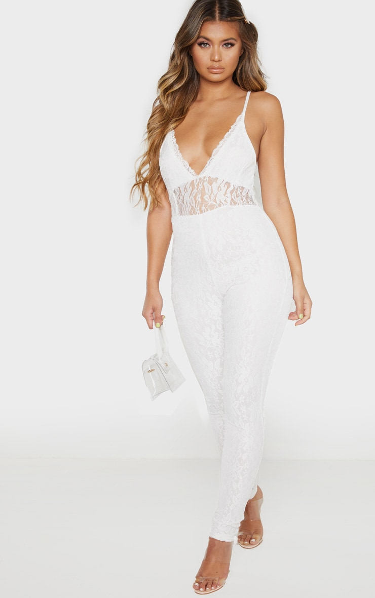 White Strappy Lace Jumpsuit 4
