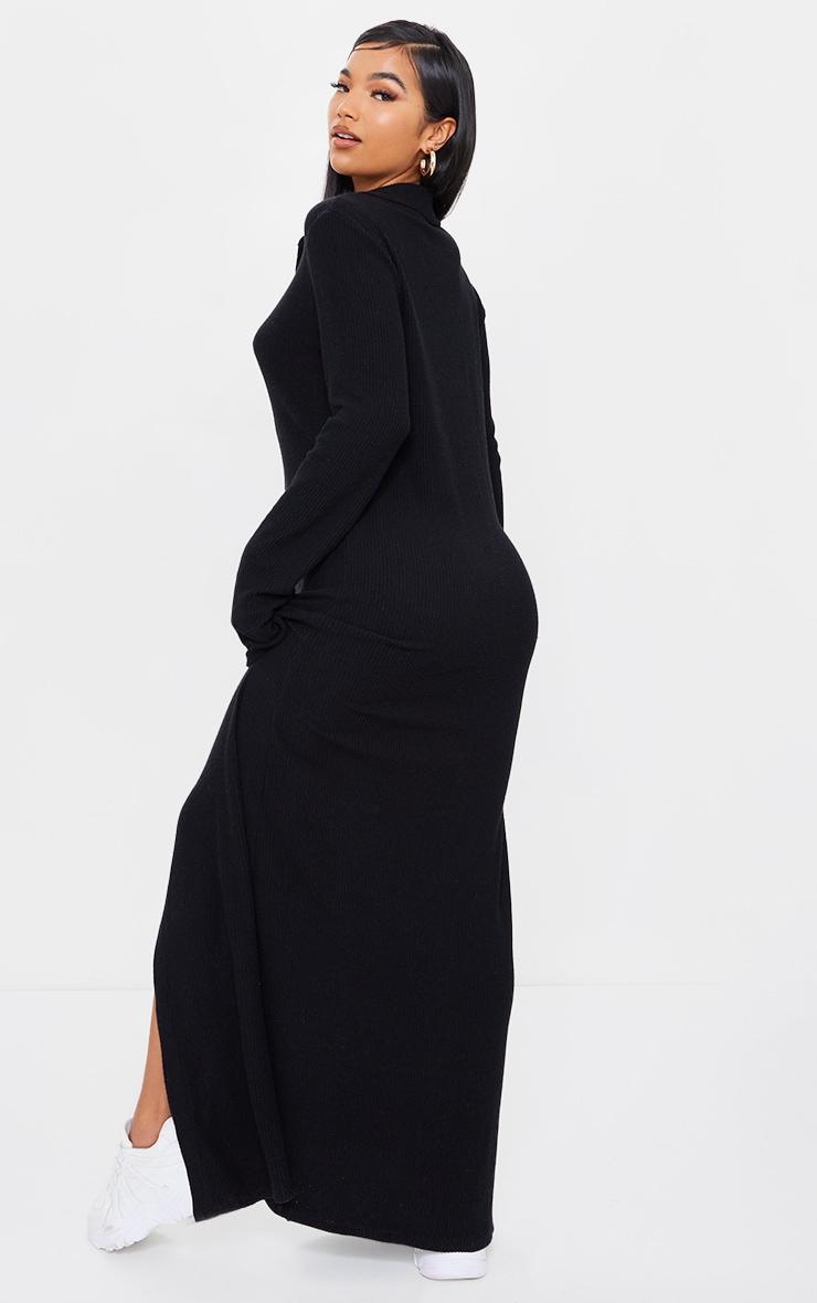 Black Brushed Rib Button Up Collar Detail Maxi Dress 2
