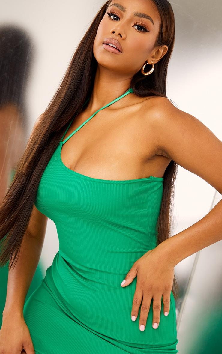 Green Ribbed Asymmetric Neck Detail Bodycon Dress 4