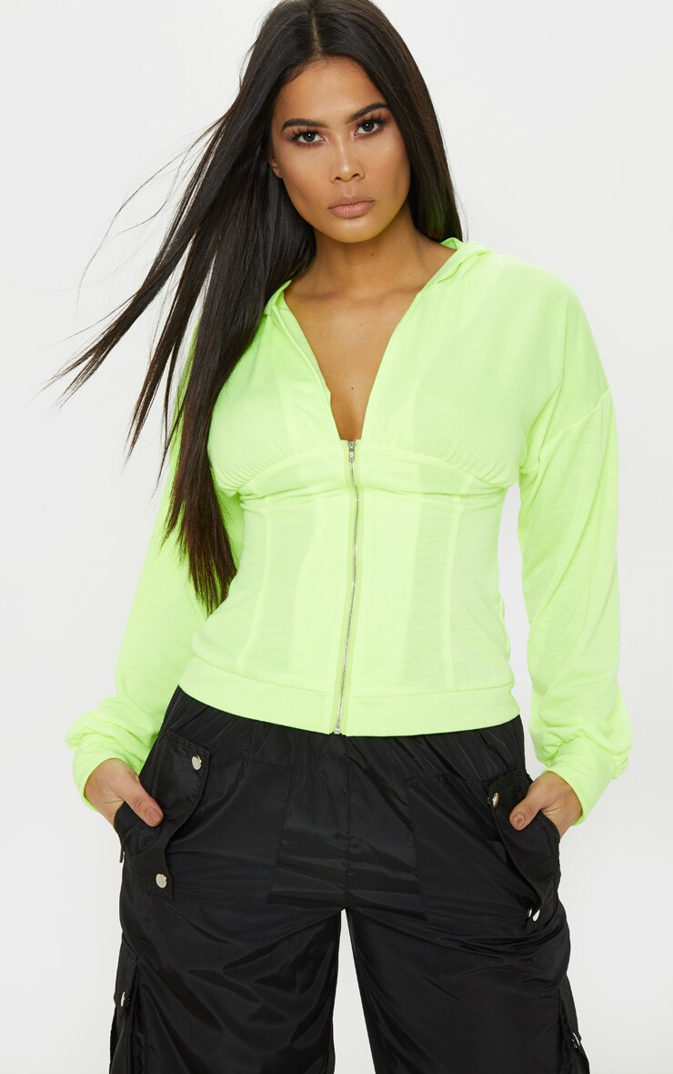Neon Lime Ruched Zip Front Hoodie 1