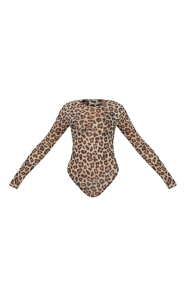 Tan Leopard Printed Mesh Shoulder Pad Long Sleeve Bodysuit 5