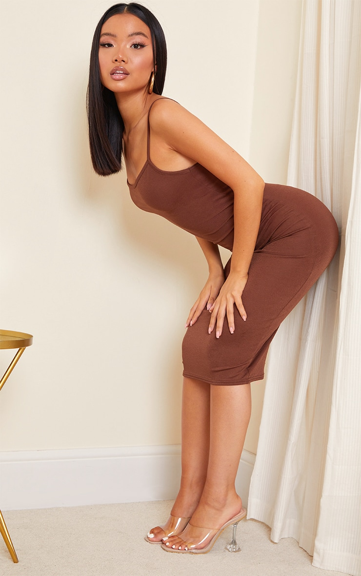 Petite Chocolate Strappy Midi Dress 3