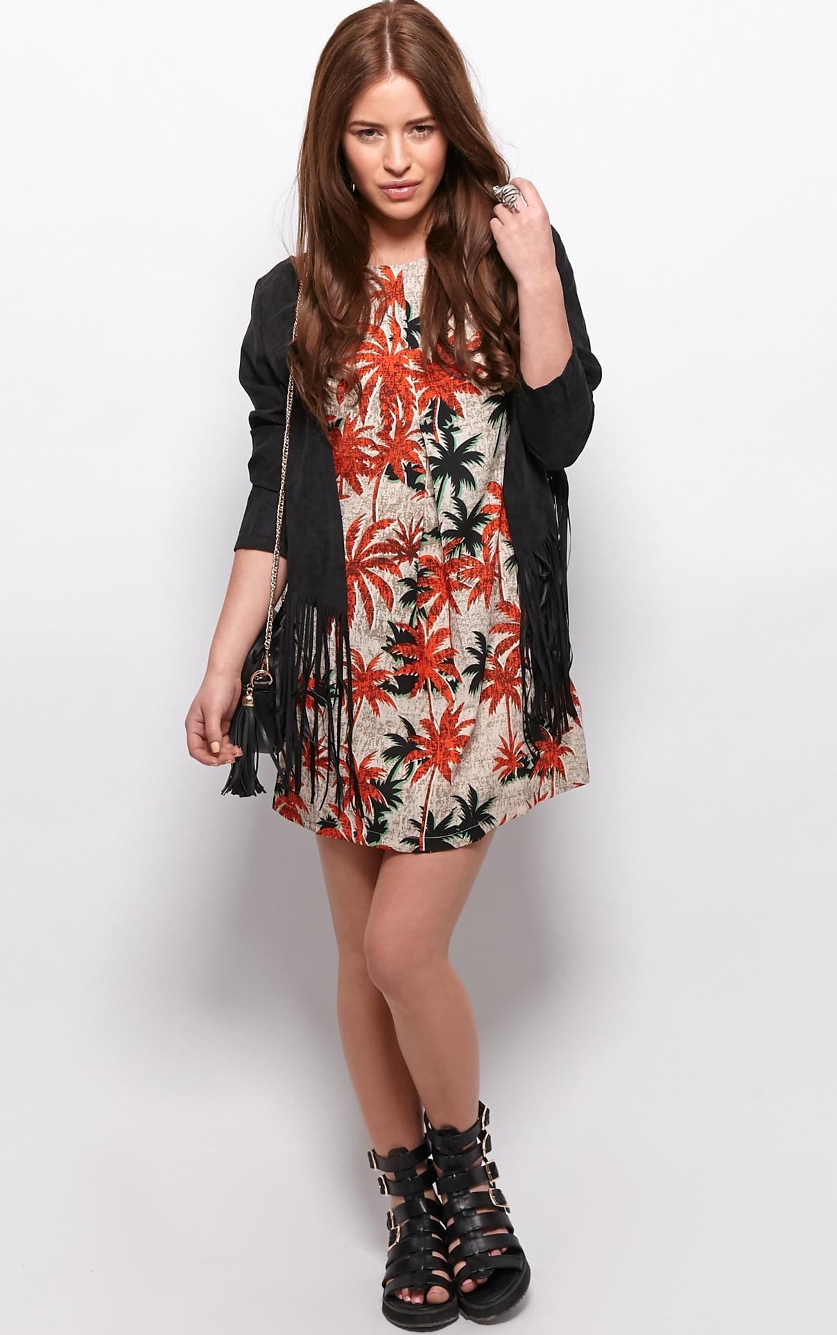 Ariana Orange Palm Tree Print Shift Dress 3