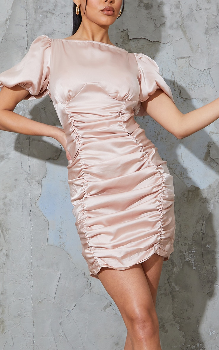 Rose Satin Ruched Short Sleeve Bodycon Dress 4