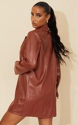 Chocolate Faux Leather Button Down Blazer Dress 2