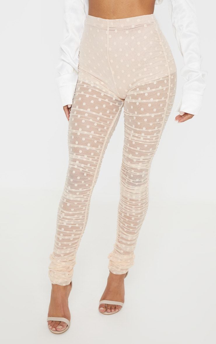 Nude Dobby Mesh Ruched Legging 2