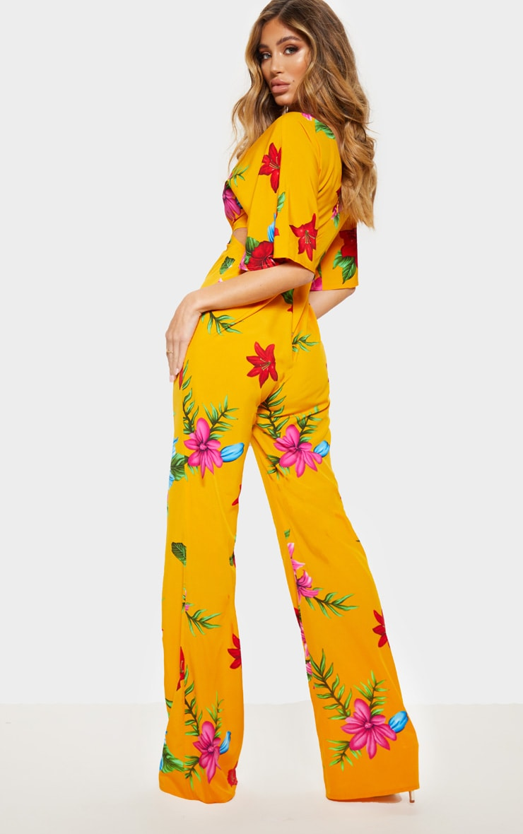 Yellow Floral Ring Detail Cut Out Jumpsuit 2
