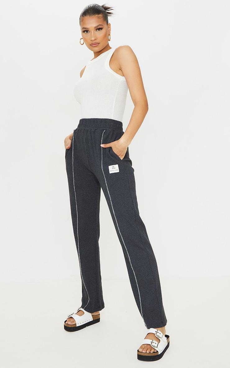 Charcoal New Season Contrast Front Seam Straight Leg Trousers 1