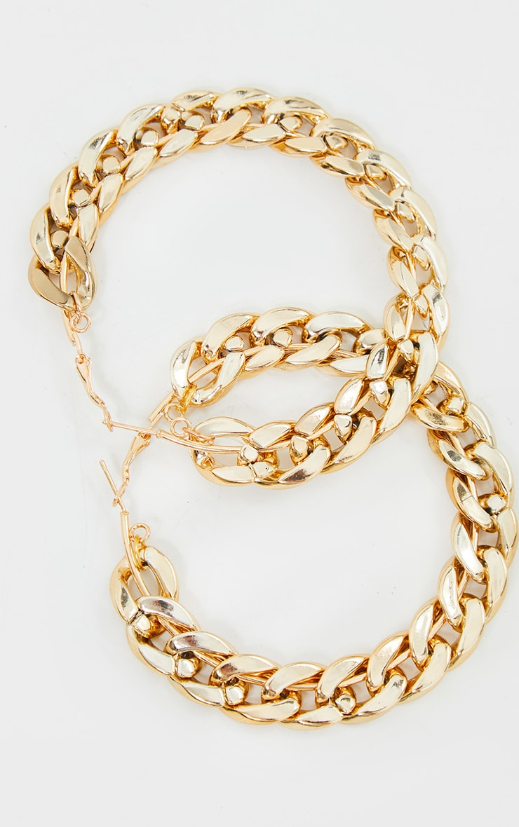 Gold Chain Link Hoop Earrings 3