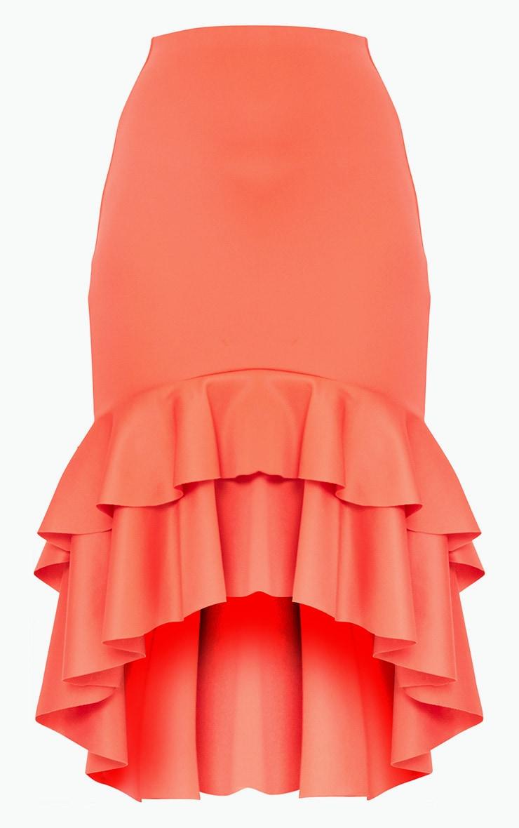 Coral Hi Lo Frill Hem Midi Skirt 3