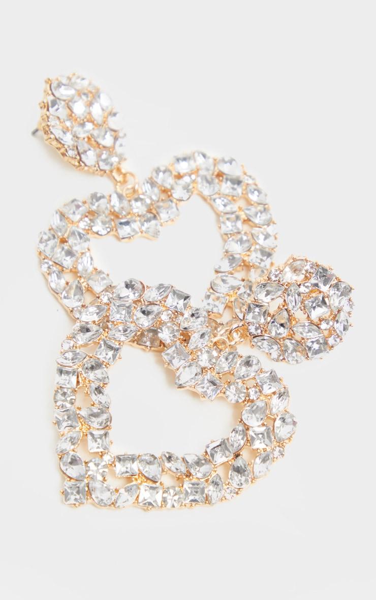 Gold Diamante Heart Drop Earring 3