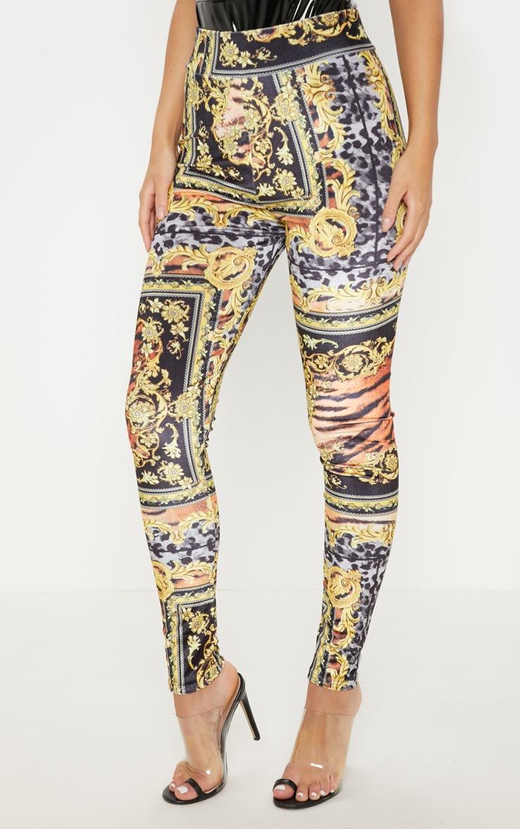 Black Scarf Print Velvet Legging 2