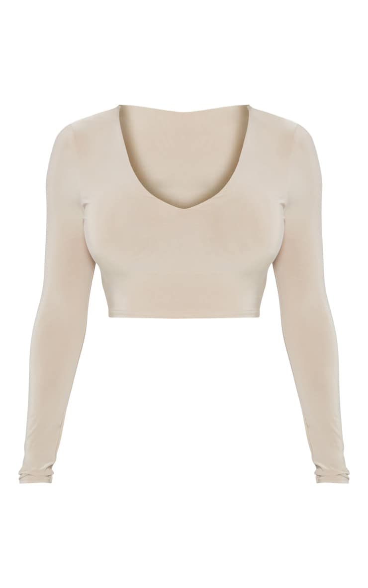 Stone Second Skin Long Sleeve V Neck Crop Top  3