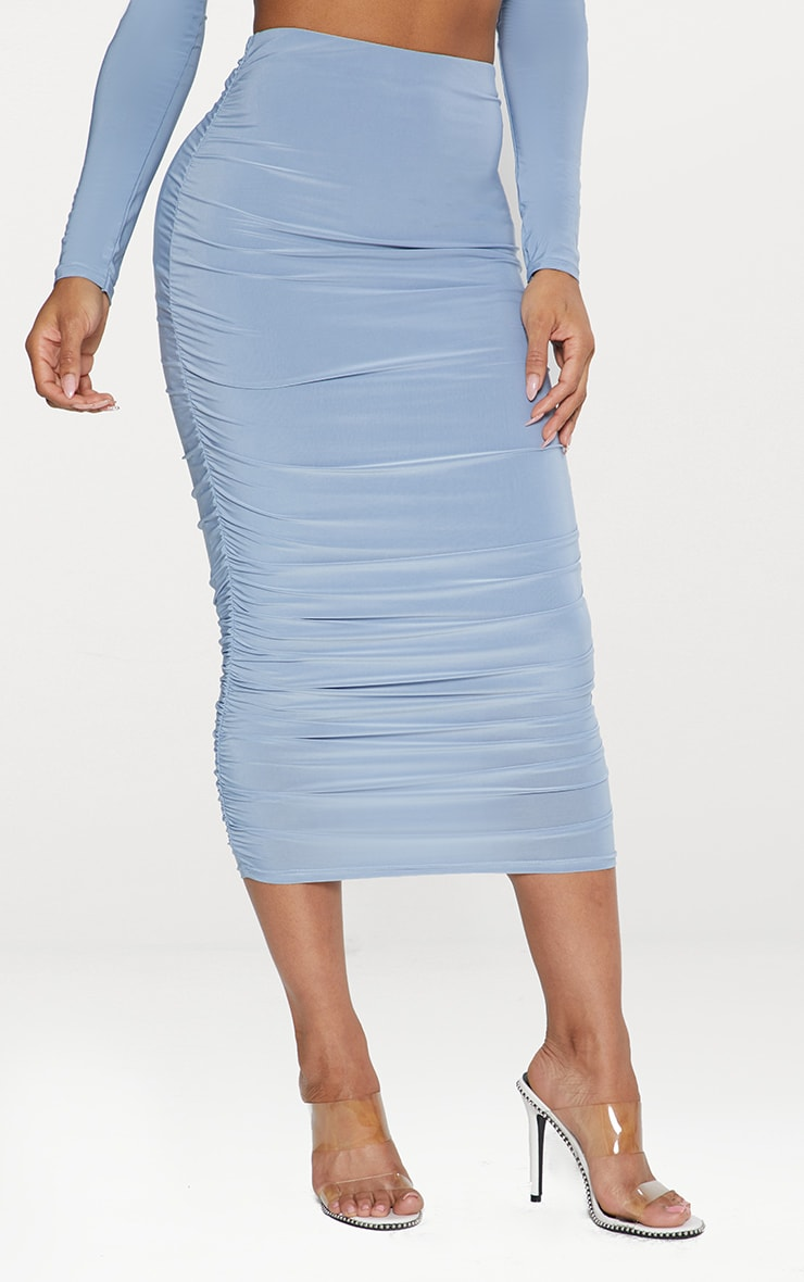 Dusky Blue Second Skin Slinky Ruched Midi Skirt  2