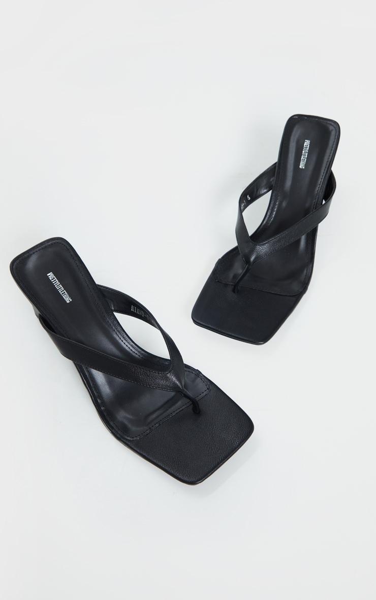 Black Toe Thong Extreme Square Toe Mid Block Heel Sandals 4
