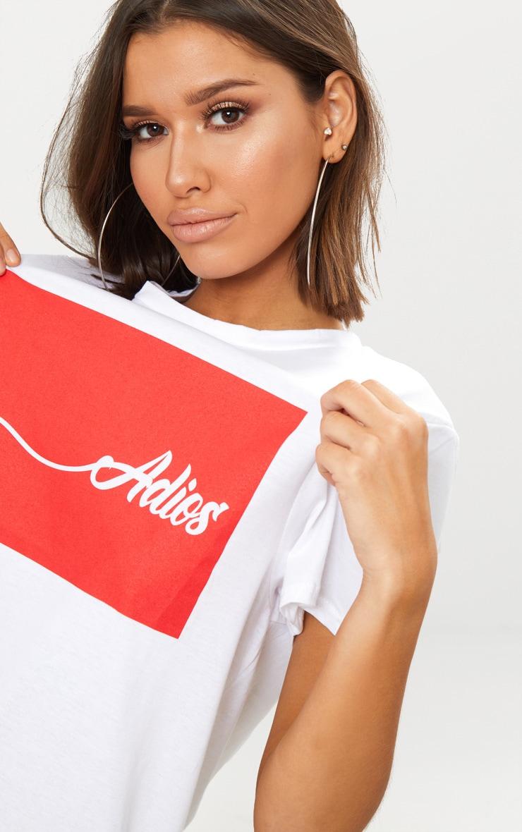 Adios White Oversized T Shirt Dress  5
