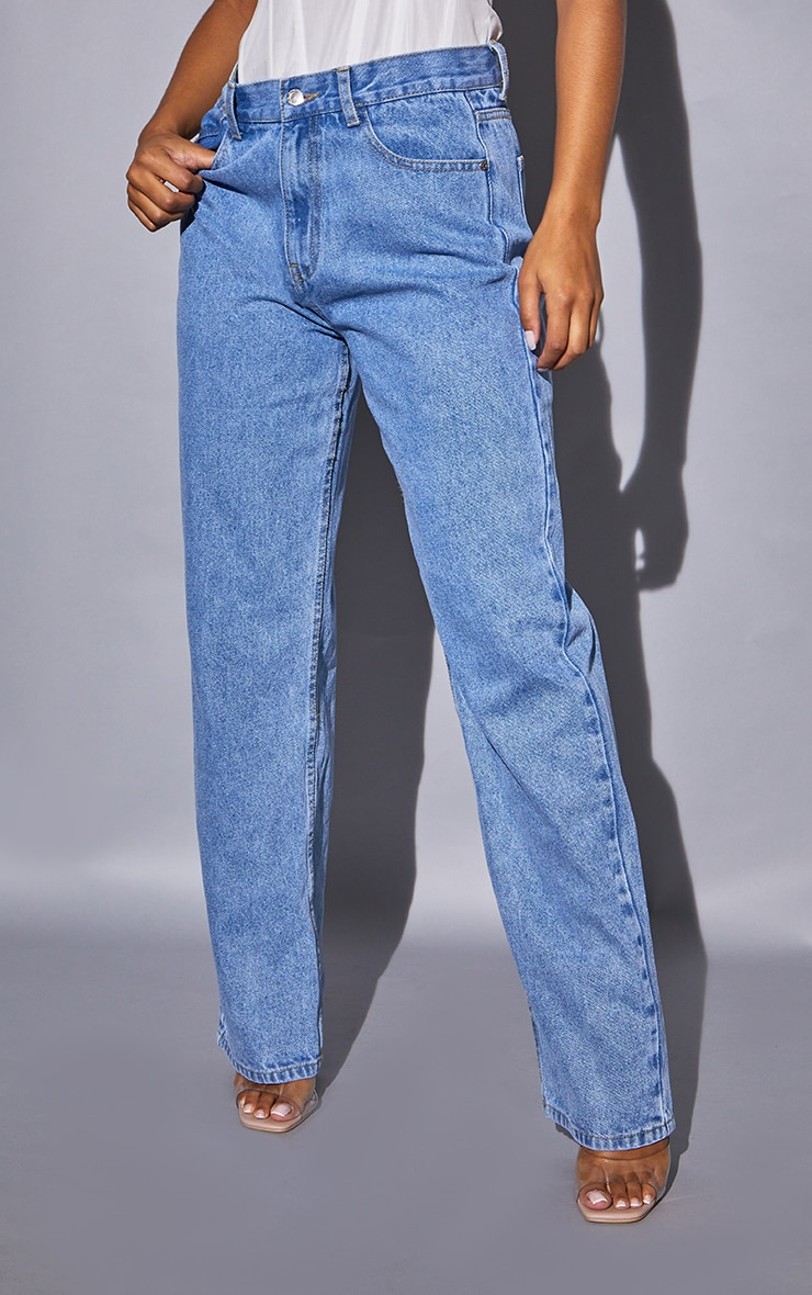 Recycled Light Blue Wash Basic Low Rise Baggy Boyfriend Jeans 2