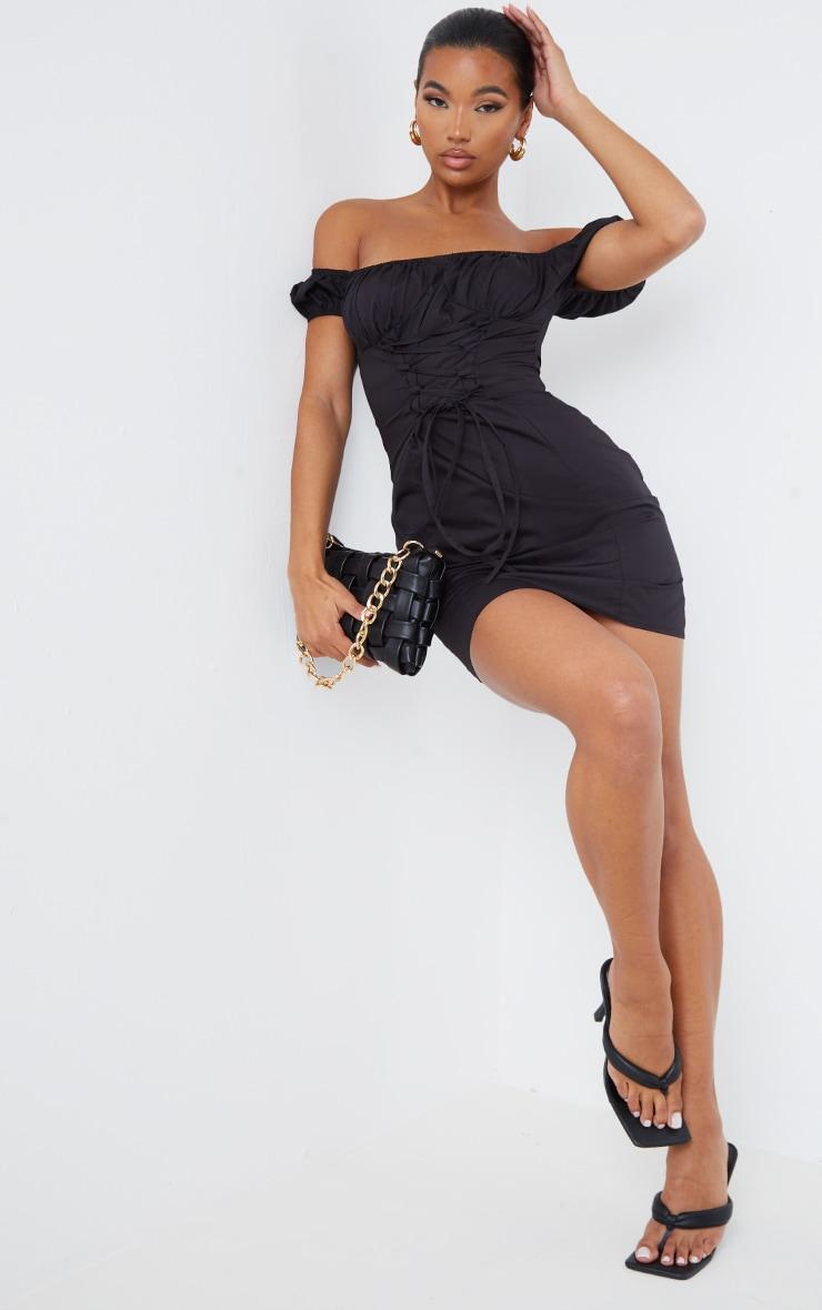 Black Woven Bardot Lace Up Detail Bodycon Dress 1