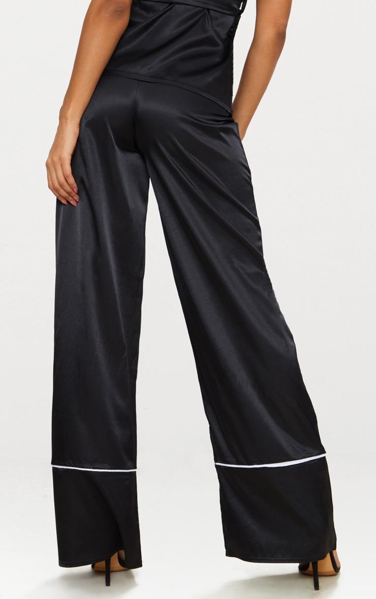 Black Satin Contrast Trim Wide Leg Trousers 4