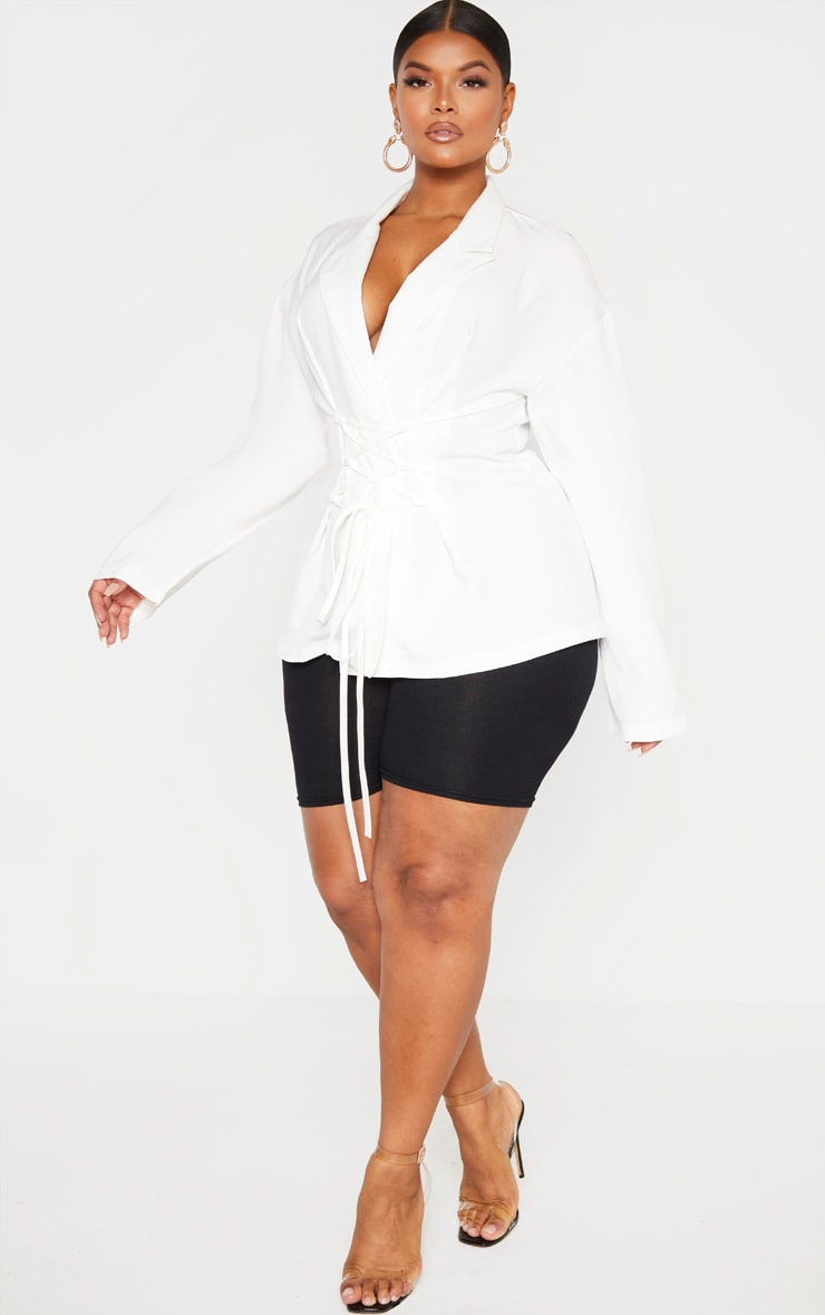 Plus White Lace Up Corset Shirt  4