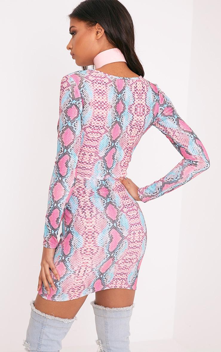 Elsiah Pink Snake Print Cut Out Bodycon Dress 3