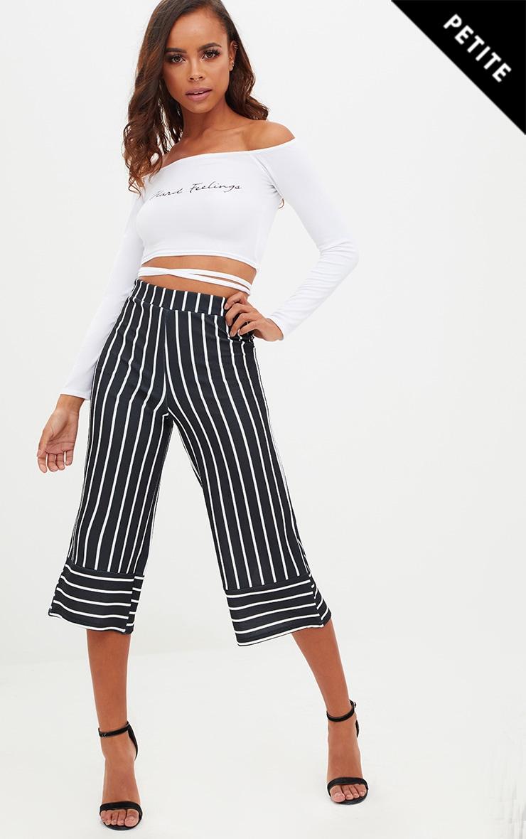 Petite Black Contrast Stripe Culottes 1