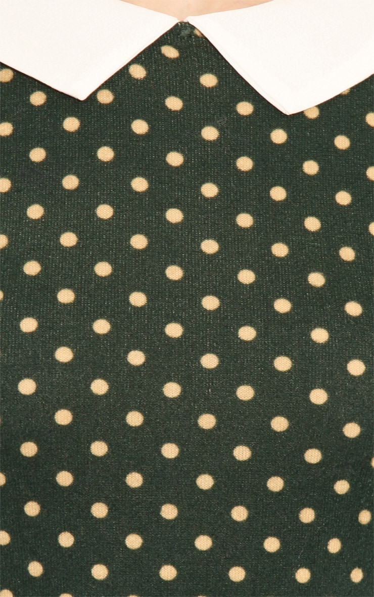 Abril Green Polka Dot Collared Dress 5