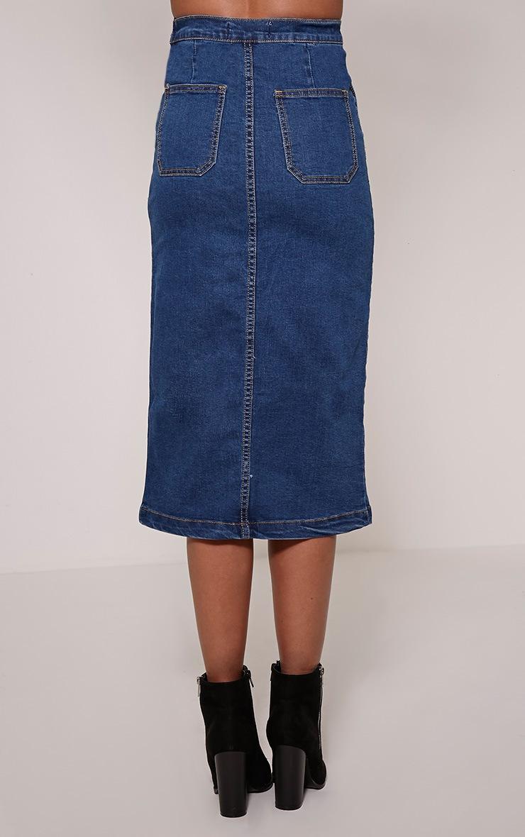 Harlyn Blue Dark Wash Denim Midi Skirt 3
