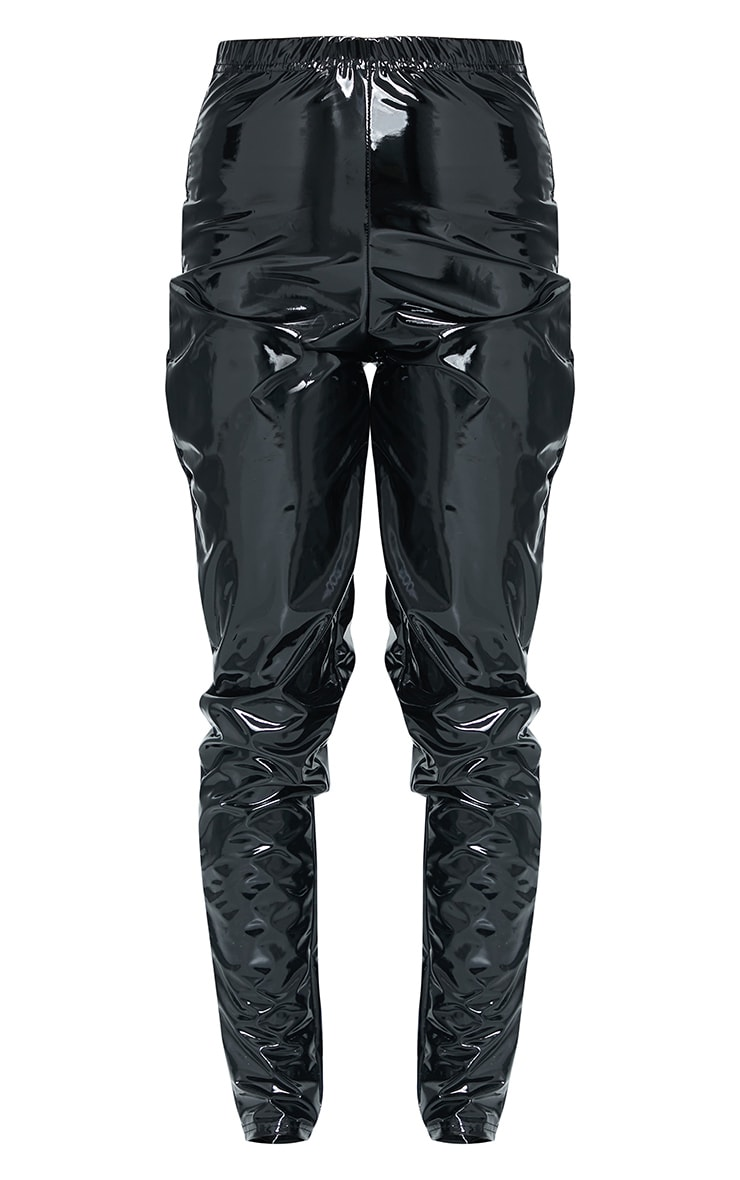Black Vinyl High Waisted Trousers 5