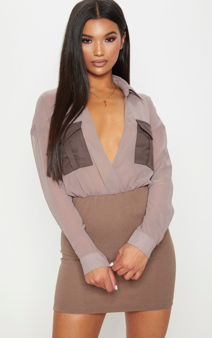Mocha Sheer Top Utility Bodycon Dress