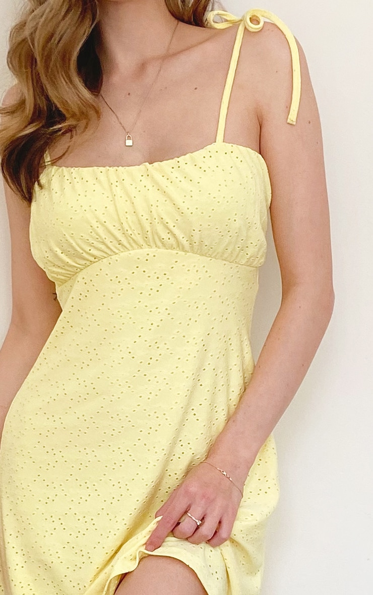 Lemon Stretch Broiderie Anglaise Ruched Tie Shoulder Shift Dress 3