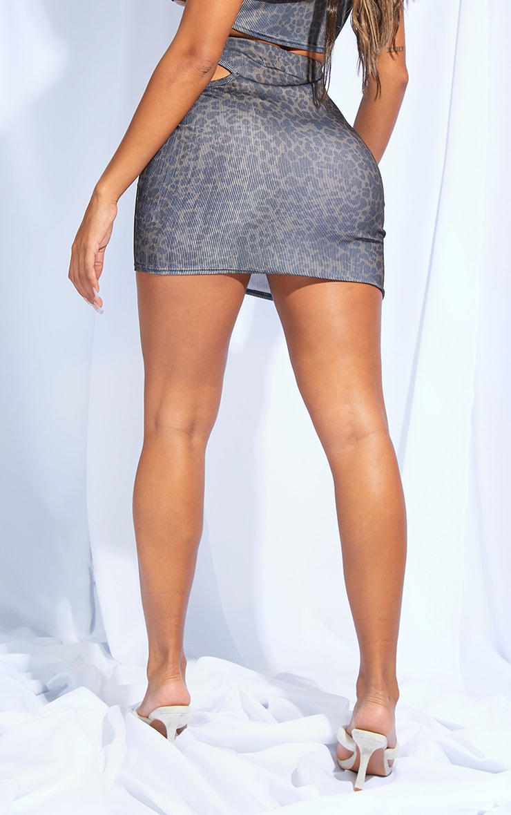 Shape Leopard Print Rib Cut Out Side Bodycon Skirt 3