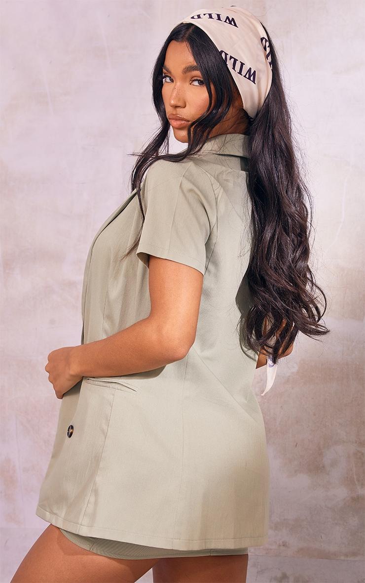 Sage Green Woven Double Breasted Short Sleeve Longline Blazer 2