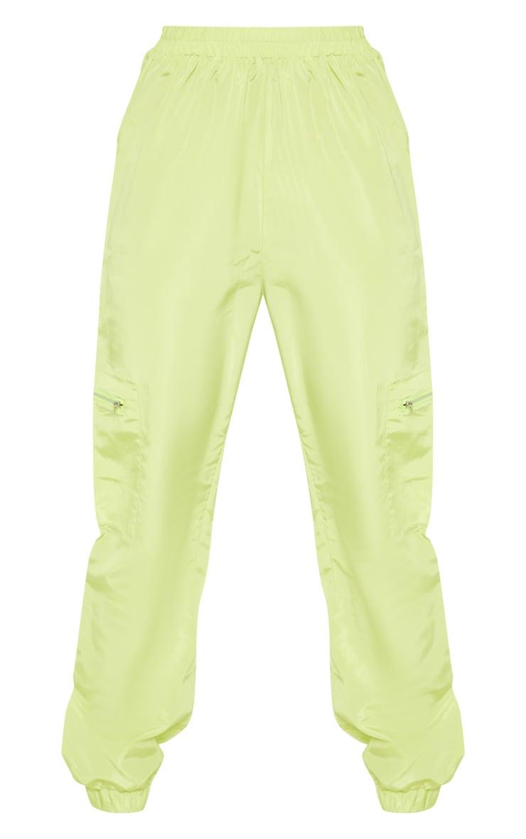 Tall Neon Lime Zip Detail Shell Joggers 3
