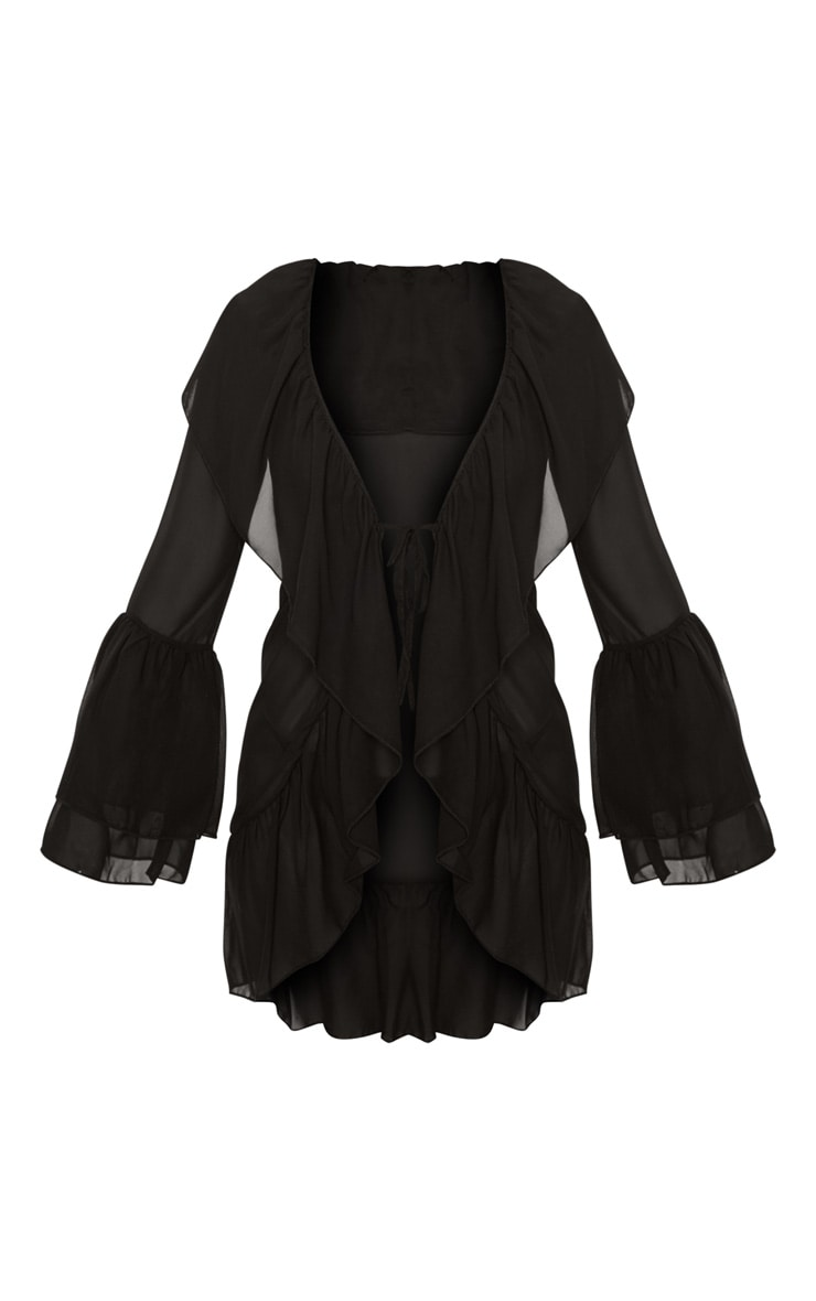 Black Frill Front & Sleeve Beach Cover Up 3