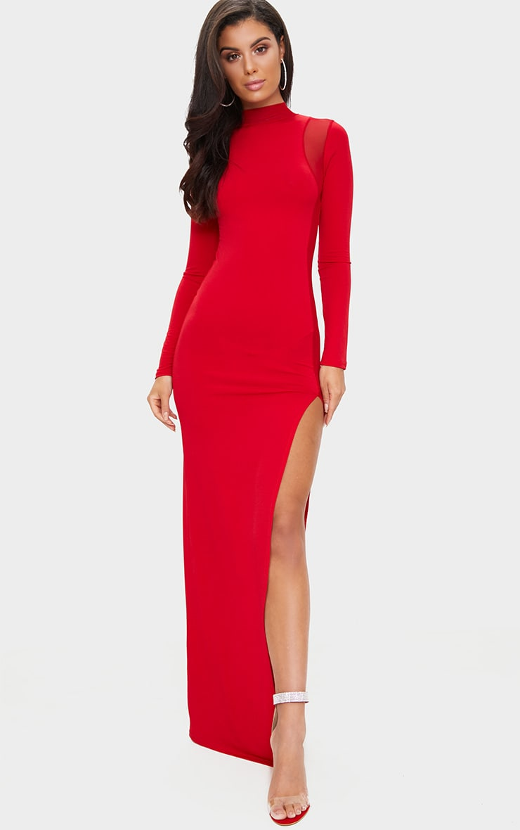 Red Mesh Panel High Neck Maxi Dress 1
