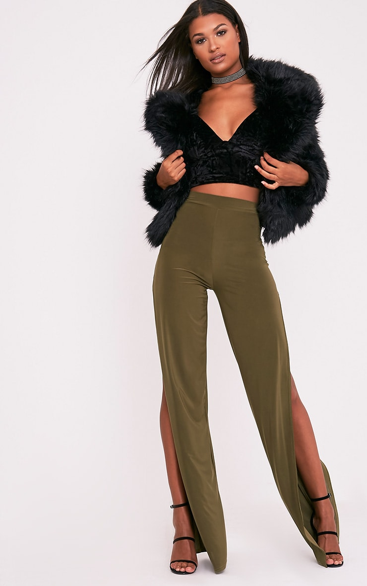 Darsee Khaki Side Split Slinky Trousers 1