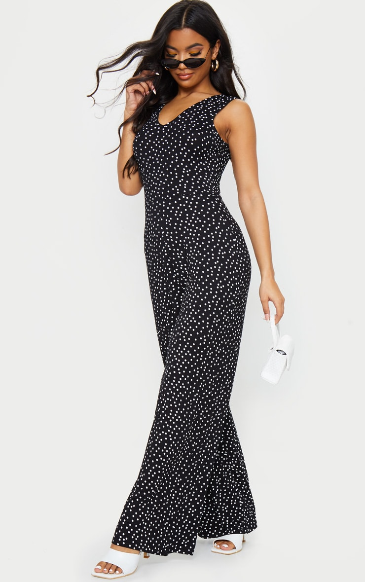 Black Polka Dot Wide Leg Jersey Jumpsuit 3