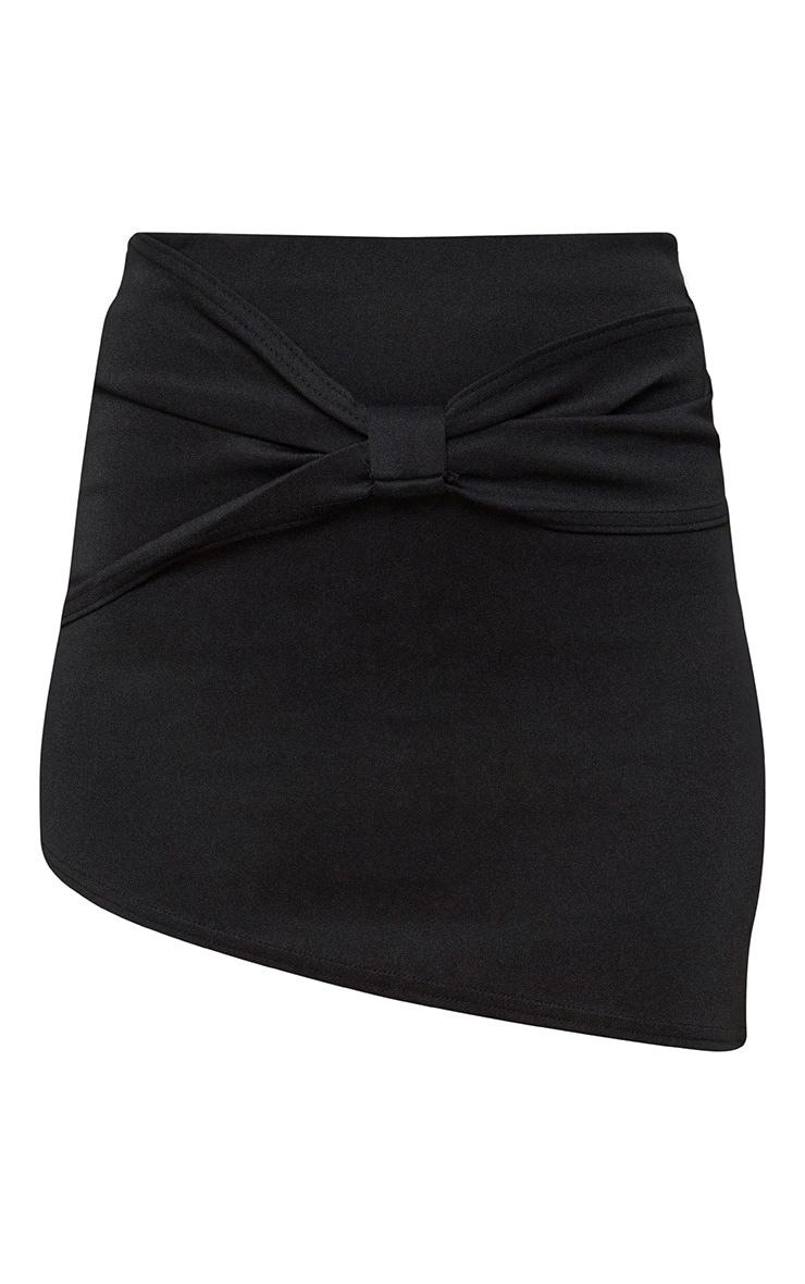 Black Bow Panel Asymmetric Mini Skirt 3