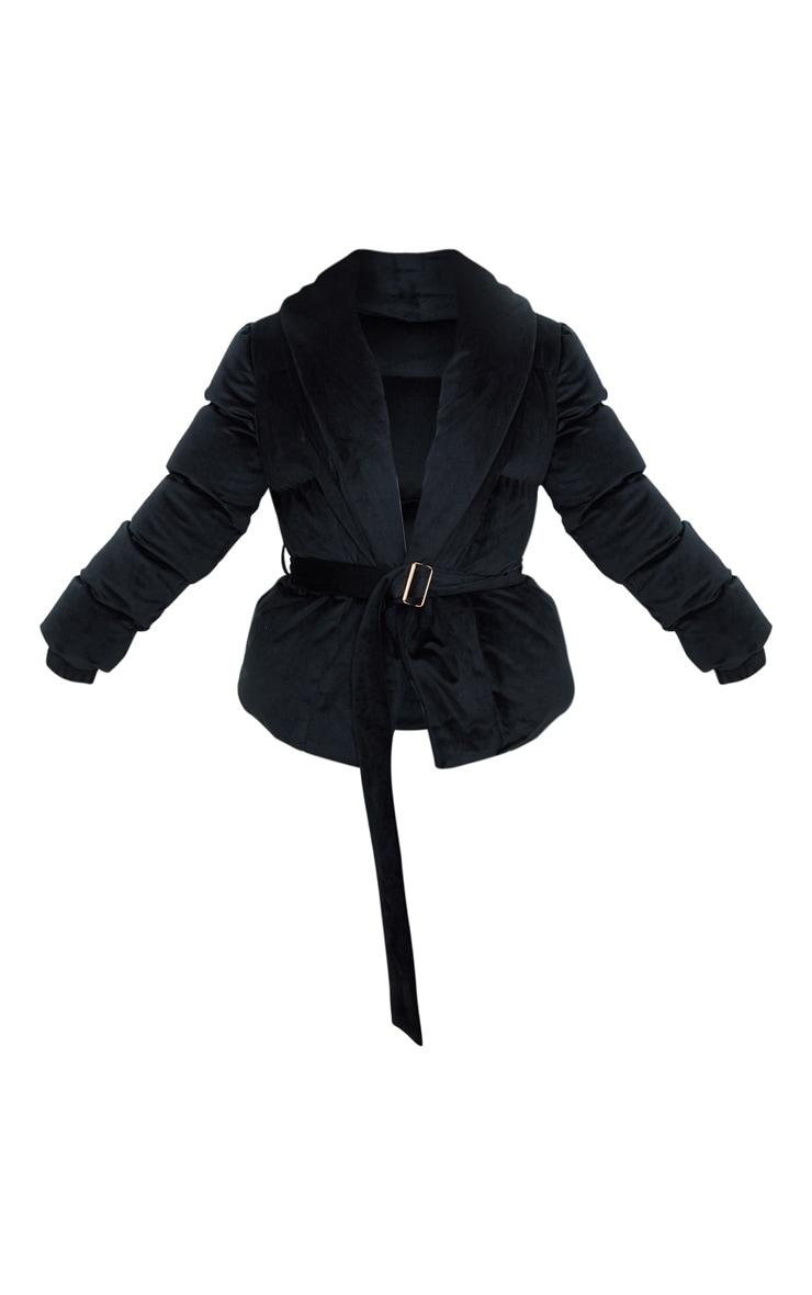 Petite Black Belted Velvet Puffer 3