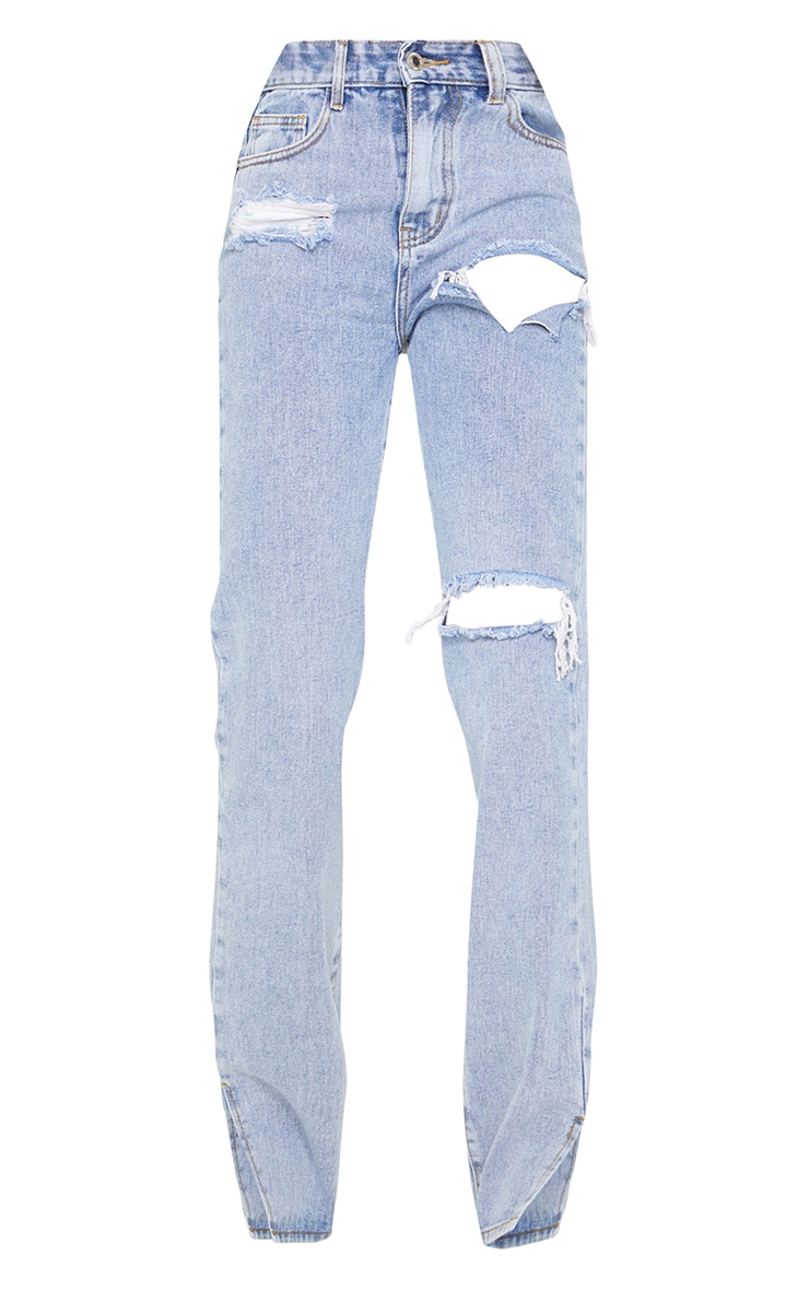 Tall Bleach Wash Distressed Split Hem Jeans 5